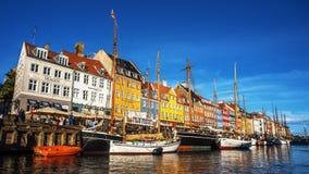 Giorno piacevole di Nyhavn Copenhaghen Danimarca Fotografia Stock
