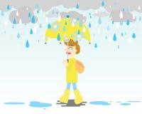 Giorno piovoso con l'ombrello e gli stivali gialli illustrazione vettoriale