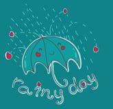 Giorno piovoso felice! Fotografia Stock Libera da Diritti