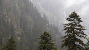Giorno piovoso nelle montagne stock footage