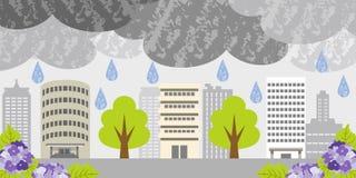 Giorno piovoso sulla città della costruzione illustrazione vettoriale