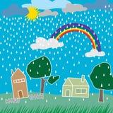 Giorno piovoso in una città Fotografia Stock