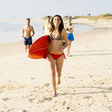 Giorno praticante il surfing Immagini Stock