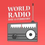 Giorno radiofonico del mondo Festa su febbraio royalty illustrazione gratis