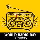 Giorno radiofonico del mondo, il 13 febbraio illustrazione vettoriale
