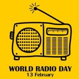 Giorno radiofonico del mondo, il 13 febbraio illustrazione di stock