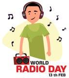 Giorno radiofonico del mondo Il tipo ascolta la radio nell'illustrazione di vettore delle cuffie royalty illustrazione gratis