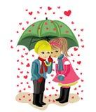 Giorno, ragazza e ragazzo del biglietto di S. Valentino Fotografie Stock Libere da Diritti