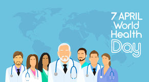 Giorno sano April Holiday Banner del fondo di medico Team Group Over World Map Fotografia Stock