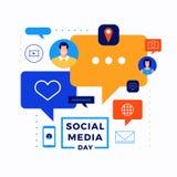 Giorno sociale di media illustrazione di stock