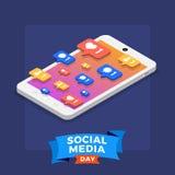 Giorno sociale di media royalty illustrazione gratis