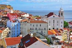 Giorno soleggiato in Alfama, Lisbona Fotografia Stock Libera da Diritti