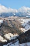 Giorno soleggiato di un inverno, sulle colline selvagge della Transilvania con le montagne di Bucegi nel fondo Immagine Stock Libera da Diritti