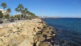 Giorno soleggiato a Molos Limassol, il Cipro Immagine Stock