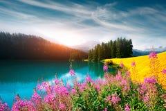 Giorno soleggiato stupefacente nel lago Champferersee nelle alpi svizzere Fotografia Stock