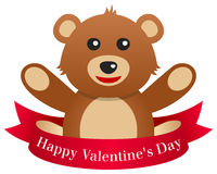 Giorno Teddy Bear del biglietto di S. Valentino s con il nastro Fotografie Stock