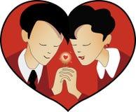 Giorno, uomo e donna di biglietto di S. Valentino della st nel cuore Fotografia Stock