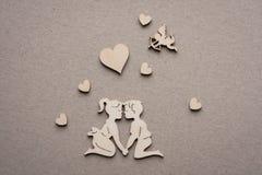 Giorno Valentine Of Wooden Figure Immagine Stock
