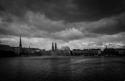 Giorno ventoso sul Alster fotografie stock libere da diritti