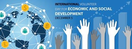 Giorno volontario dell'internazionale per il fondo di sviluppo sociale ed economico illustrazione vettoriale