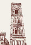 Giotto bell tower on the Duomo square in Florence Stock Images
