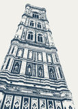 Giotto bell tower in Florence. Vector image of the Giotto bell tower on the Duomo square, near the cathedral of Sant Maria del Fiore Royalty Free Stock Photo