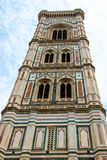 Giotto's bell tower of the cathedral Santa Maria del Fiore in Pi. View from the bottom and front of Giotto's bell tower of Cathedral Santa Maria del Fiore in Stock Photo