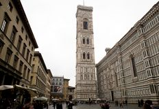 Giotto's Tower. Florence, Italy: Giotto's Tower is a free-standing campanile that is part of the complex of buildings that make up Florence Cathedral on the stock photography