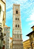 Giotto's tower in Florence, Italy. Giotto's Campanile is a free-standing campanile that is part of the complex of buildings that make up Florence stock photo