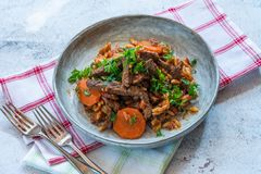Giouvetsi - plato cocido griego con carne de vaca y pastas del orzo foto de archivo