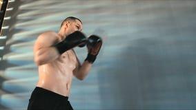 Giovane addestramento maschio dell'atleta nella palestra di pugilato video d archivio