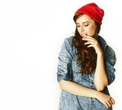 Giovane adolescente castana allegro su fondo bianco fotografia stock