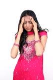 Giovane adolescente con un'emicrania difettosa. Fotografie Stock