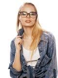 Giovane adolescente grazioso della ragazza in vetri su bianco Fotografia Stock Libera da Diritti