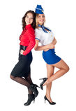 Giovane affare attraente lafy e hostess Fotografia Stock