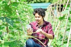 Giovane agricoltore asiatico che utilizza smartphone nell'agricoltura Fotografie Stock Libere da Diritti