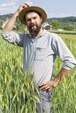 Giovane agricoltore con il cappello che sta nel grano Fotografia Stock Libera da Diritti