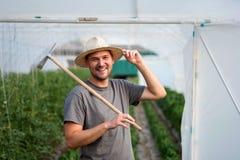 Giovane agricoltore davanti alla piccola serra Imprenditore di piccola impresa Immagine Stock Libera da Diritti