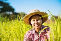 Giovane agricoltore della femmina del Myanmar Fotografie Stock
