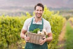 Giovane agricoltore felice che tiene un canestro delle verdure Fotografia Stock Libera da Diritti