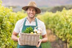 Giovane agricoltore felice che tiene un canestro delle verdure Immagini Stock