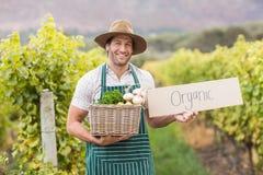 Giovane agricoltore felice che tiene un canestro delle verdure e di un segno Immagini Stock Libere da Diritti