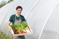 Giovane agricoltore felice con una cassa piena della verdura Fotografia Stock Libera da Diritti