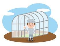 Giovane agricoltore fuori di una serra royalty illustrazione gratis