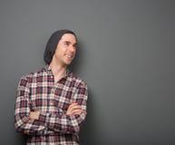 Giovane allegro in camicia a quadretti Fotografie Stock