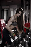 Giovane allenamento sexy della ragazza di forma fisica con le teste di legno nella palestra Donna castana di forma fisica nell'us Immagini Stock