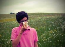 Giovane allergia del wuith del ragazzo con effetto d'annata Fotografia Stock