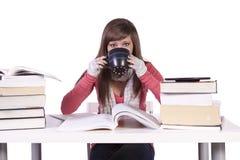Giovane allievo che studia per gli esami Fotografie Stock