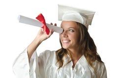 Giovane allievo con il diploma Fotografia Stock