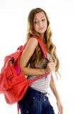 Giovane allievo con il sacchetto Fotografia Stock Libera da Diritti